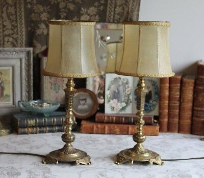 An Ornate Pair of Vintage French Brass Bedside Side Table Lamps with Shades