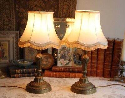 A Pair of Vintage French Brass Bedside Side Table Lamps with Shades