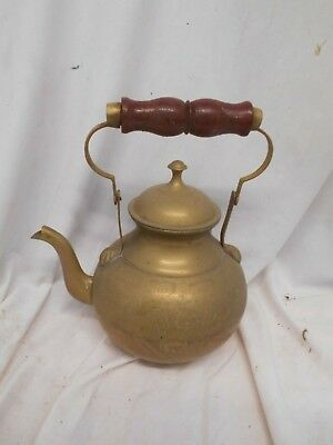 LARGE Quality VINTAGE Solid BRASS KETTLE Teapot TEA POT with WOODEN HANDLE 32cms