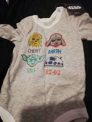Baby vest Disney Star Wars baby Boys Long Sleeved Vest Age 3 to 6 months