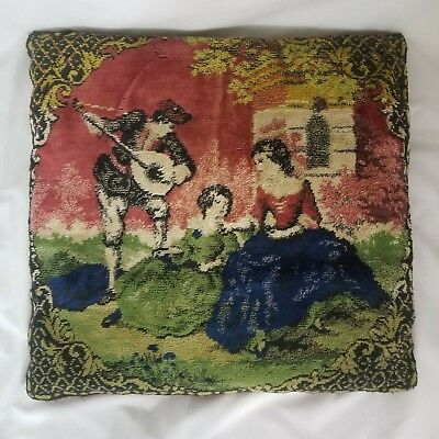 """Antique 19th Century French Aubusson Style Tapestry Decorative Cushion 18"""" X 18"""""""