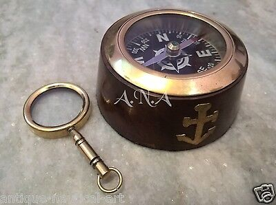 Wooden Brass Compass With Magnifier Keychain Set Of 2 Marine Collectible Decor