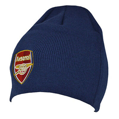 Arsenal Fc Navy Colour Core Beanie Knitted Hat One Size Gunners New Xmas Gift