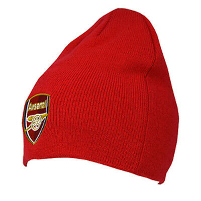 Arsenal Fc Red Colour Core Beanie Knitted Hat One Size Gunners New Xmas Gift