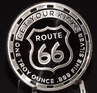 ROUTE 66  SILVER ROUND 1 OZ  Troy 999 pure Silver