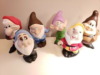 Vintage Snow White and The Seven Dwarfs Ceramic Figurine Set of 6 Walt Disney