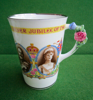 Rare Paragon China King George V & Queen Mary Silver Jubilee  Lady's Mug c.1935
