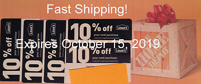 Twenty (20) Lowes 10%  for Home Depot only - Expires October 15, 2019