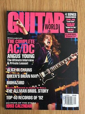 GUITAR WORLD MAGAZINE January 1993 Issue AC/DC Pearl Jam Allman Brothers