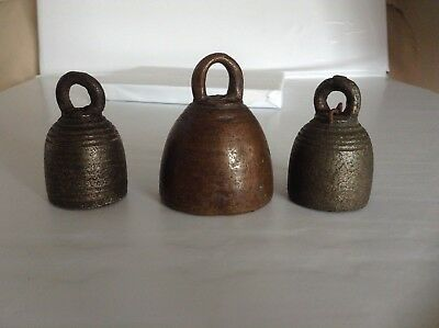 Set Of 3 Antique Thai Temple Or Amulet bell Bell