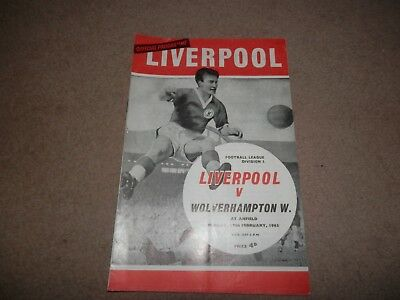 Liverpool FC vs. Wolves Anfield programme 18 Feb 1965
