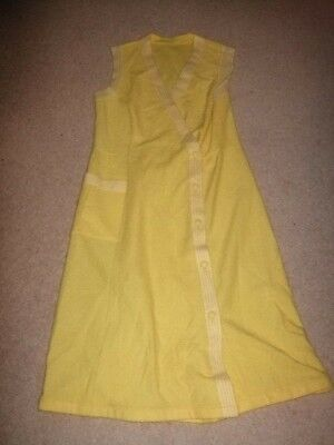 vintage retro 60s 70s yellow towelling knitted crochet dress 14 12 festival