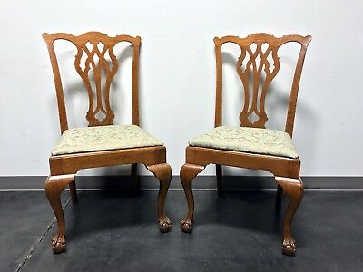 Vintage Quartersawn Tiger Oak Chippendale Ball in Claw Dining Accent Side Chairs