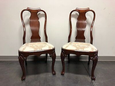 Solid Mahogany Queen Anne Dining Side Chairs - Pair 1