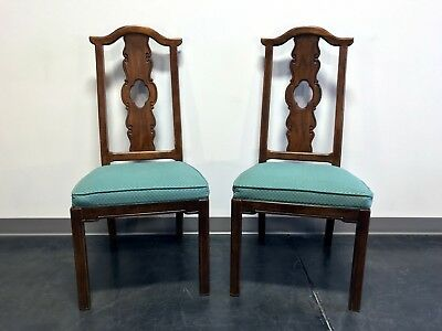THOMASVILLE Mystique Asian Chinoiserie Dining Side Chairs - Pair 1