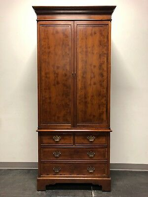 Vintage Chippendale Yew Wood Armoire Secretary Linen Press - 1