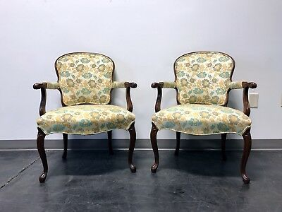 Vintage French Provincial Louis XV Style Fauteuils Open Arm Chairs - Pair