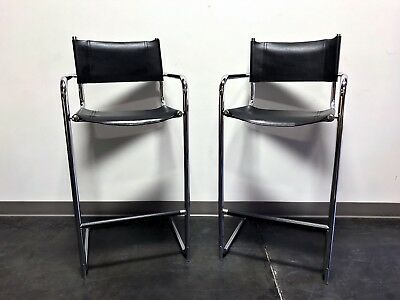 Stupendous Mart Stam Chrome Black Leather Bar Stools Made In Italy Creativecarmelina Interior Chair Design Creativecarmelinacom