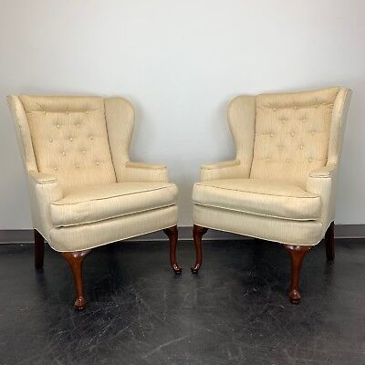 Vintage Button Tufted Queen Anne Wing Back Chairs - Pair