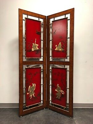THEODORE ALEXANDER Walnut Argentinian Faux Bamboo Chinoiserie Divider Screen