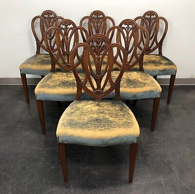 Mahogany Hepplewhite Prince of Wales Dining Side Chairs - Set of 6