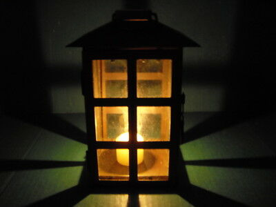 Vintage Rustic Rusty Metal & Glass Hanging Candle Holder Lantern Light Garden