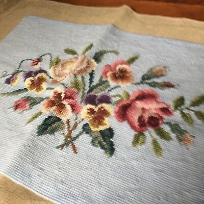 ANTIQUE? Vtg needlepoint tapestry VICTORIAN light blue wool cabbage rose 19x13""