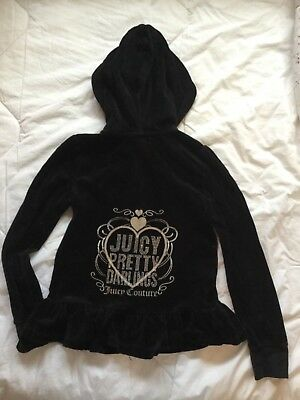 Juicy Couture black velour hooded jacket and jogging bottoms set age 8 yrs