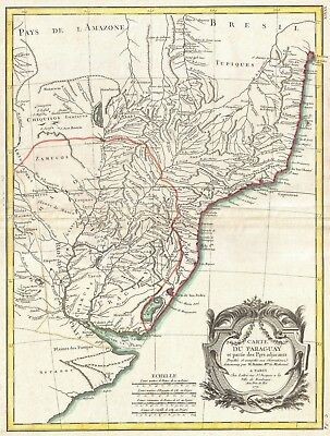 Antique Map Paraguay 1771 Bonne Map of Paraguay, Uruguay and Brazil Original