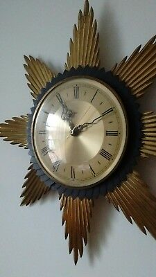 Retro 1970s Metamec Sunburst Starburst Wall Clock