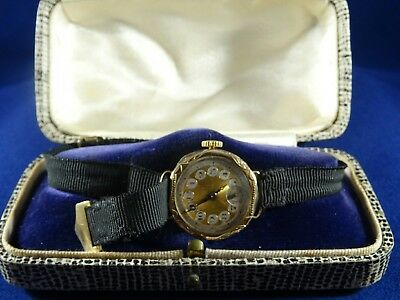 Lovely Antique 14ct Gold Swiss Ladies Wristwatch with Gold Metal Face, 1930s GWO