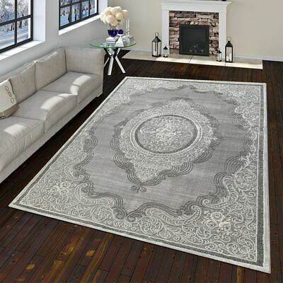 Modern Oriental Rug Vintage Look With Flowers and Ornaments In Grey White
