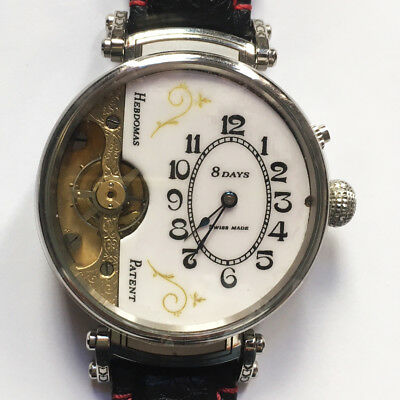 Rare Hebdomas Marriage Watch In Engraved Stainless-Steel Case With Top Sapphire