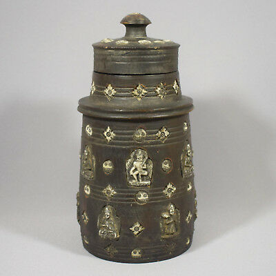Antique Himalayan Inlaid Turned Wooden Storage Jar & Cover - Tibet / Nepal
