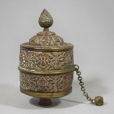 A Himalayan Parcel Gilt Copper & Brass Prayer Wheel - 19Th / 20Th Cent.