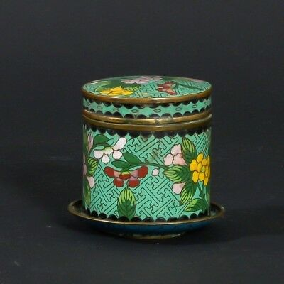 Antique Chinese Green Floral Enamel Cloisonne Cylindrical Jar+ Small Round Dish