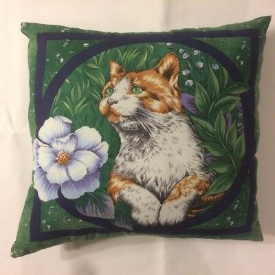 New 15 X 15 Orange And White Cat With Flower On Animal Theme Pillow - Complete
