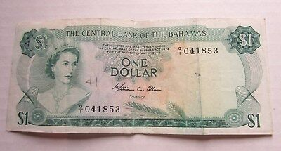 Central bank of Bahamas one dollar bill Queen Eliabeth Sea Garden