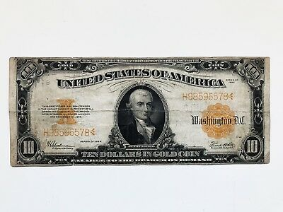 $10 Dollars 1922 Note Large Size Gold Certificate