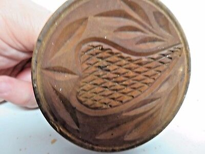 Antique BUTTER MOLD Primitive Carved Wood STRAWBERRY Press Print Stamp