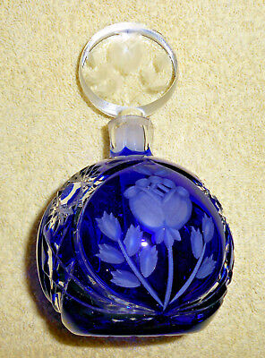 """Cobalt Blue Etched-Glass Perfume Bottle W/ Clear Glass Stopper/Applicator-5.5"""""""