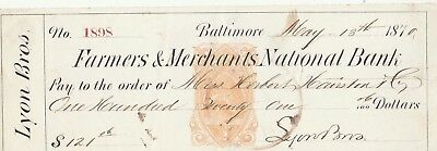 1870 Farmers & Merchants Nationa Bank, Baltimore, Maryland      Revenue