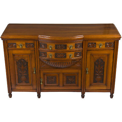 Antique Arts and Crafts Style Walnut Sideboard Buffet Server Cabinet Cupboard