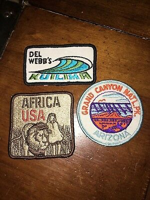 LOT 3 Vintage Patches Africa USA, Grand Canyon National Park & Del Webbs Kuilima