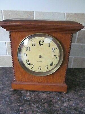 Antique Wooden Chiming Mantle Clock - GILBERT - Spares or Repair