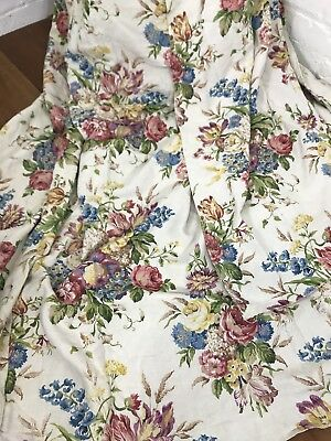 Antique Textiles Curtains Drapes Floral Linen Fabric Early C20th Chintz