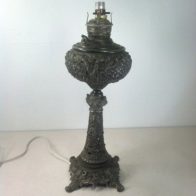 Antique NEW JUNO Victorian Banquet Oil Lamp Fancy Ornate Converted Restoration