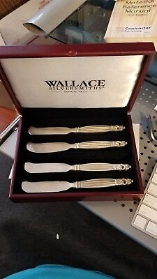 Wallace Silversmiths Silver Plated Butter Spreader Knife Set 4 Display Box