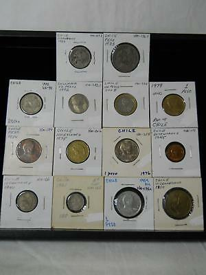 Fourteen Old Coins From Chile Nice Lot All Different Many High Grade