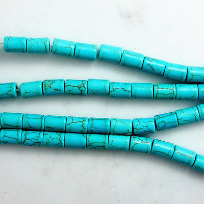 Wholesale Blue Turquoise Gemstone Spacer Loose Beads Charm Findings 15'' ZK05